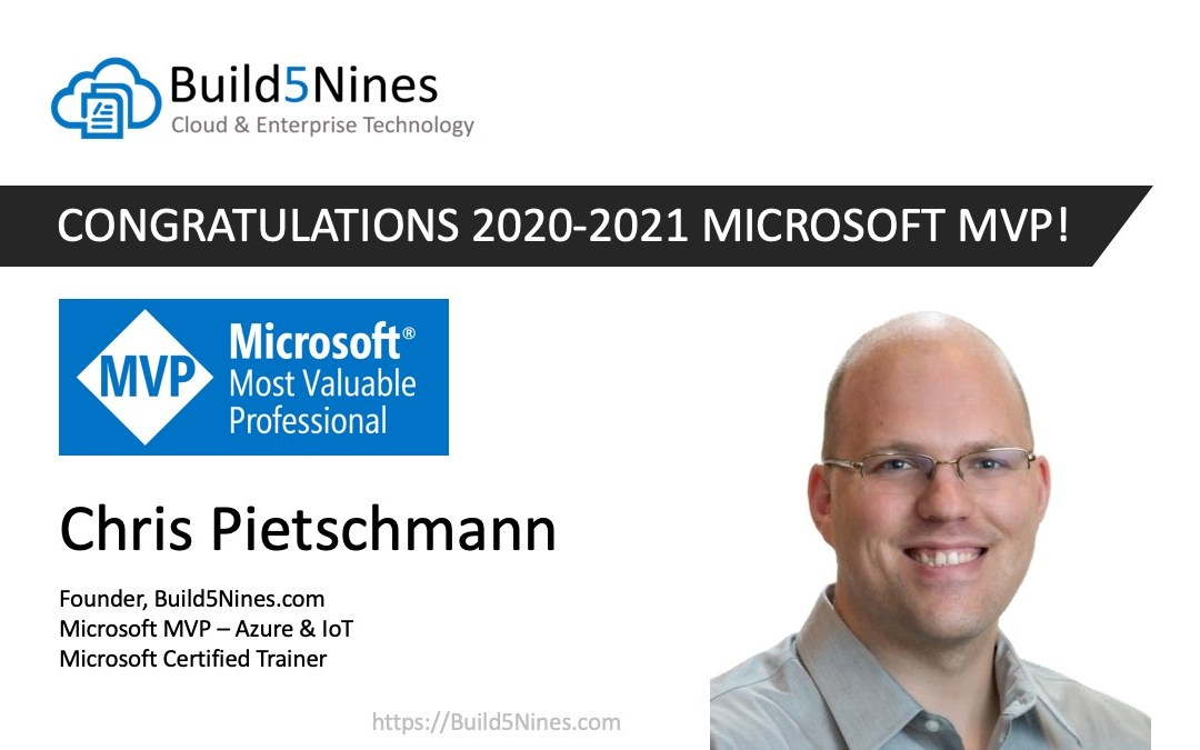 Chris Pietschmann Awarded 2020 Microsoft MVP in Azure