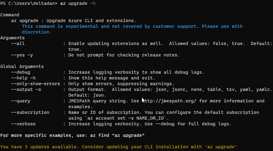 Update Azure CLI from the command-line (az upgrade) 1