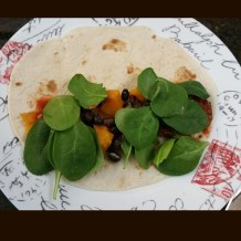 Tortilla filled with butternut squash, spinach, black beans, and spaghetti sauce for a quick and nutritious meal :)