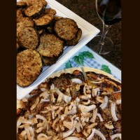 Super Bowl snacks - Crispy eggplant with a BBQ chicken and onion pizza and a glass of Harthill Farms merlot