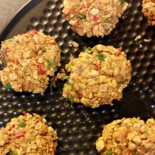 Crispy Chickpea Patties made with celery red pepper onions and spices