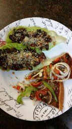 Lettuce wraps stuffed with dark and light kidney beans and black beans with onion and red pepper, and topped with hemp seeds. Veggie pizza with mushrooms, green peppers, and onions.