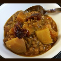 Slow cooker butternut squash and lentil soup with apple and beet add-ins
