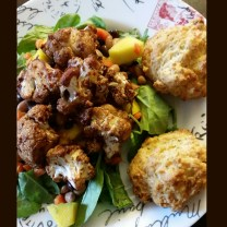 BBQ roasted cauliflower, mango, peppers, mixed beans atop mixed greens with a side of Red Lobster biskets