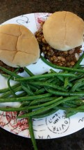 Super simple, quick, nutritious meal.  Meatless Sloppy Joes.  Slightly mashed mixed beans and lentils with BBQ sauce, and a side of fresh steamed green beans. /kids-kitchen-slow-cooker-lentil-sloppy-joes