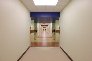 Reinforced safe interior school hallway