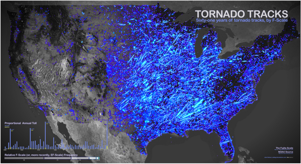 60 Years of Tornadoes & Disasters Visualized