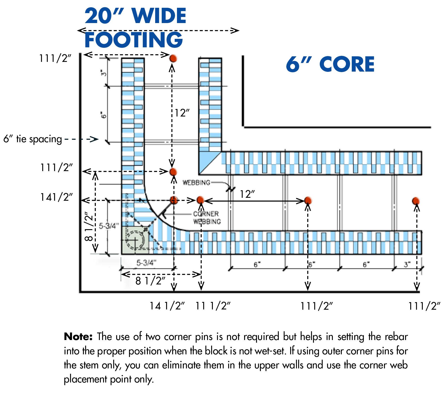 hight resolution of buildblock footings detail