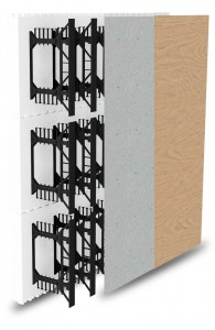 BuildBlock Hardwall showing webs, cement board, and MDF or plywood.