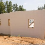 Exterior ICF walls, stacked and braced