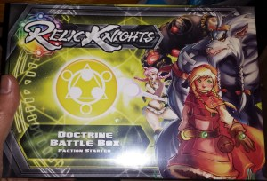 This includes a Questing Knight, Delphine, her Cypher, Ekhis, a Librarian and a squad of Novitiates. Also includes the playmat/dashboard, tokens, battle deck and mini rulebook.