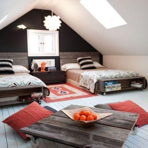desain kamar anak kembar di atap