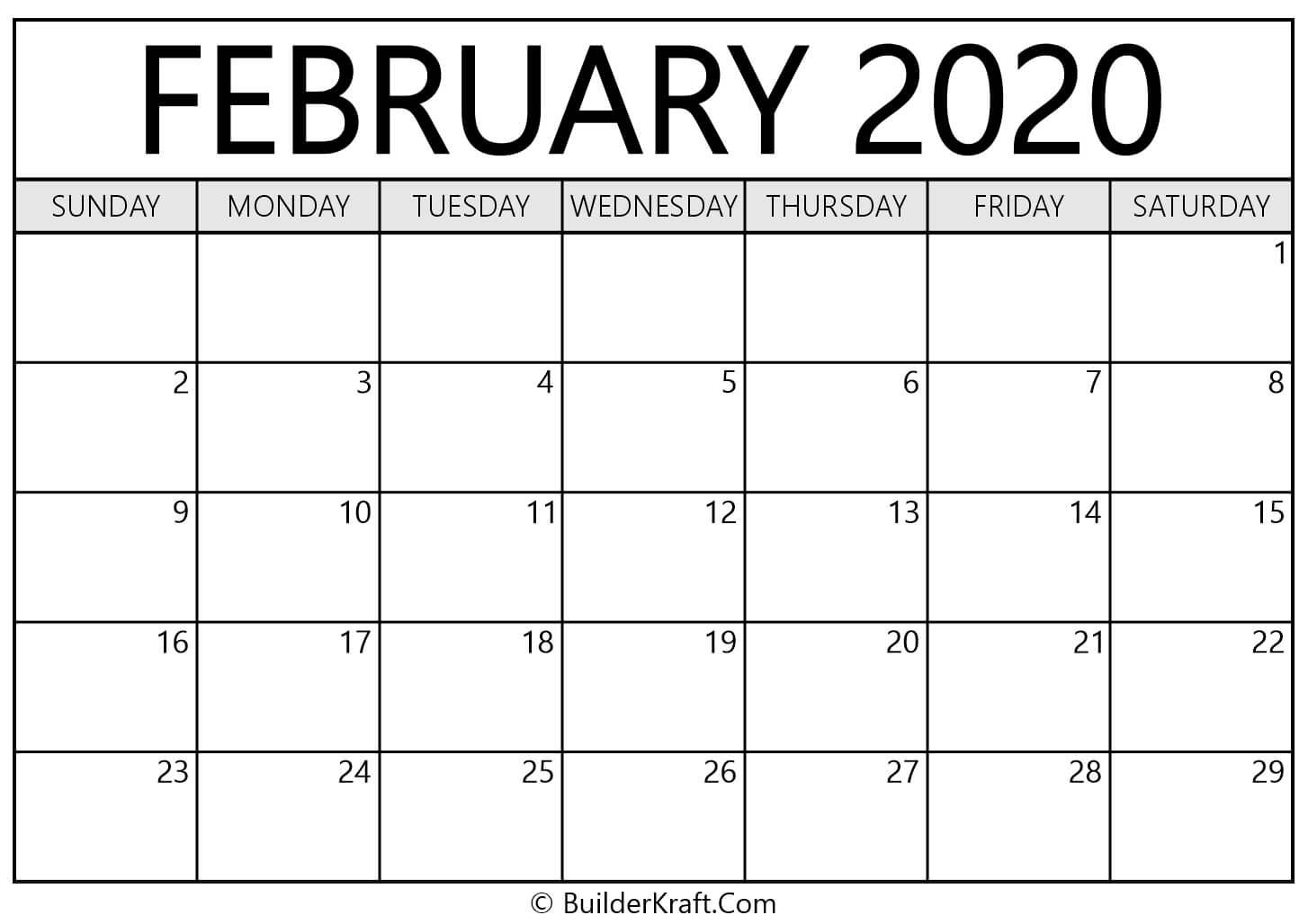 February 2020 Calendar Printable Template - BuilderKraft