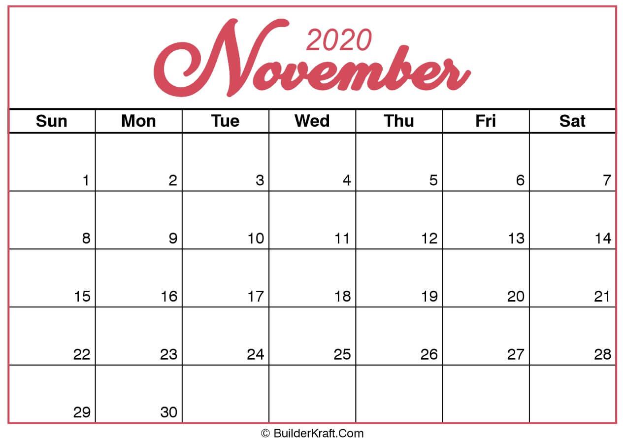 November 2020 Calendar Printable Template - BuilderKraft
