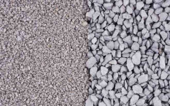 crushed stone and gravel
