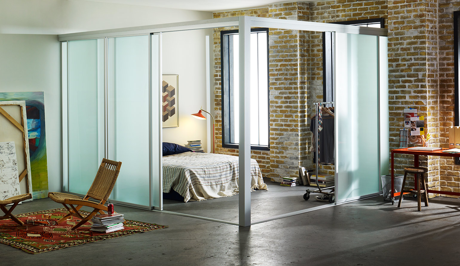Glass Wall Room Divider