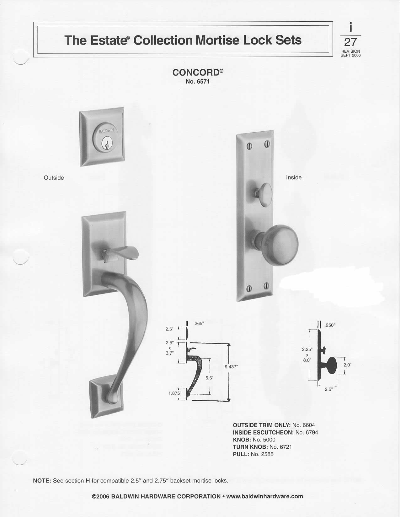 mortise lock parts diagram electrical wiring in house baldwin colonial style solid brass handle set concord