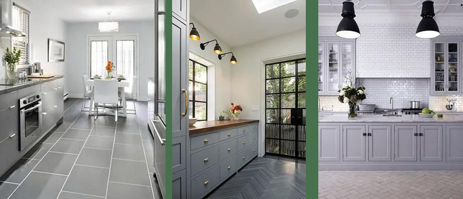 grey kitchen tile how to care for granite countertops floor ideas builders surplus in