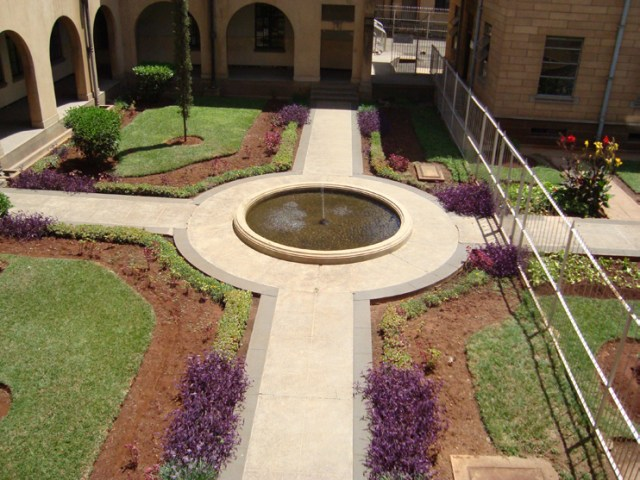 A water fountain in the courtyard