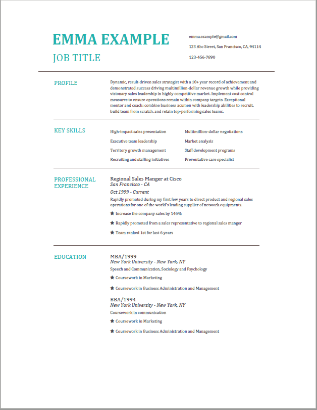 examples of resumes job experience