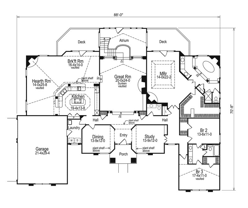 Colonial house Plan, 3 Bedrooms Family home, sunken great