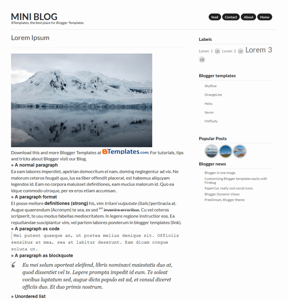 mini blog minimal blogger theme