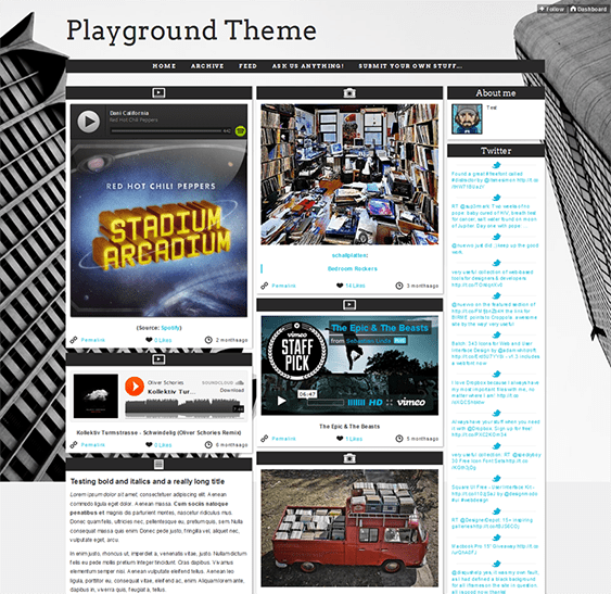 playground masonry tumblr theme