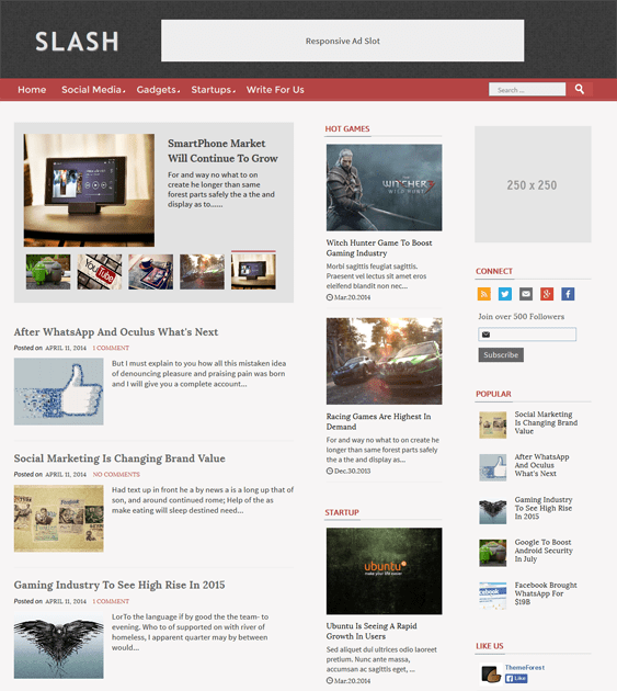 slash flat blogger theme