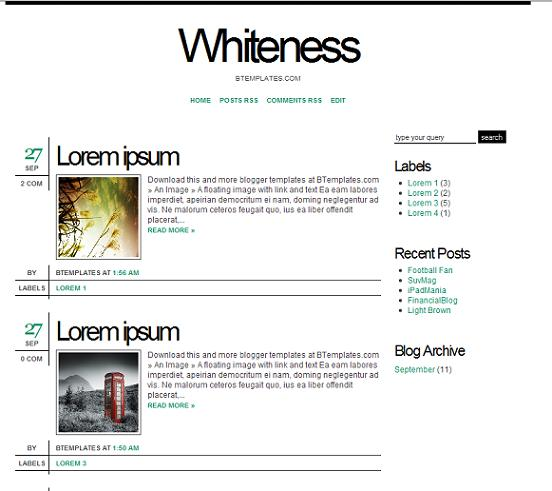 whiteness minimal blogger theme
