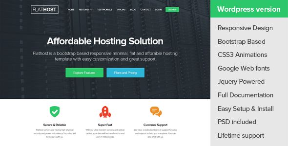 FlatHost WordPress Hosting Theme - WHMCS by Theme-Squared