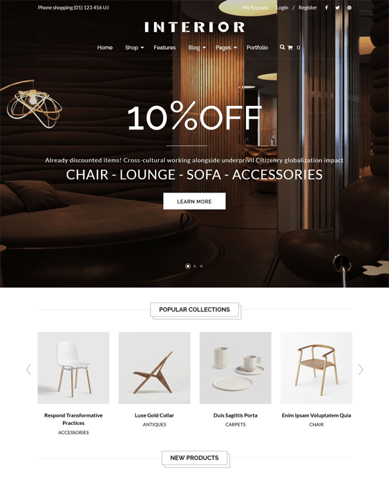 interior minimal shopify theme