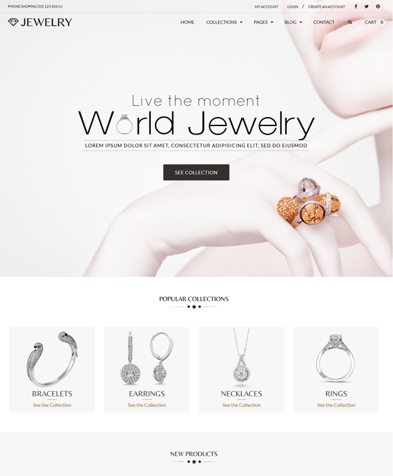 jewelry minimal shopify theme