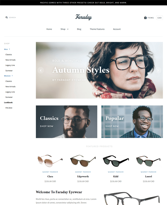 pacific minimal shopify theme