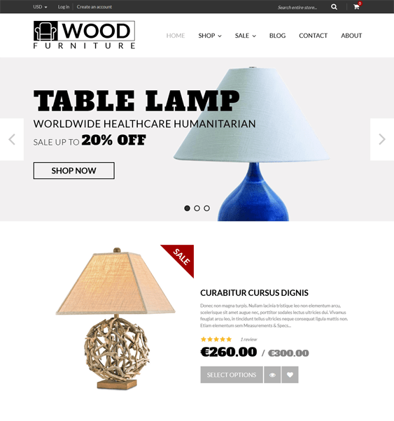 wood furniture minimal shopify theme