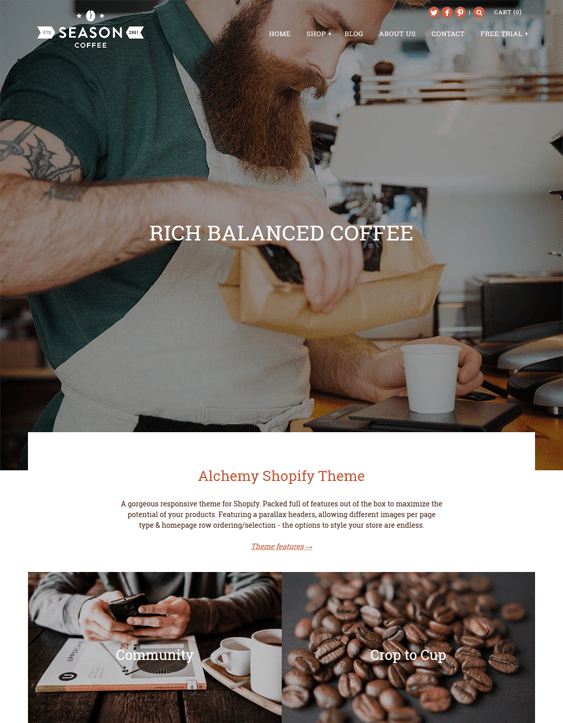 alchemy food drink shopify themes