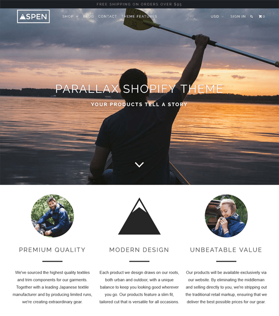 parallax sports fitness shopify themes