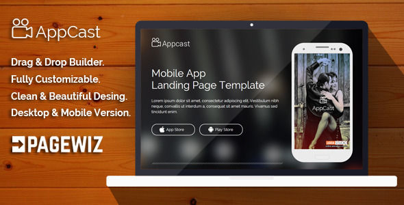 App Cast Mobile App Landing Page Template by Demustang (landing page template for PageWiz)