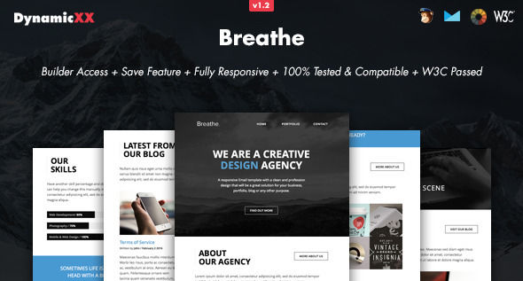 Breathe by DynamicXX (email templates for use with Mailchimp)