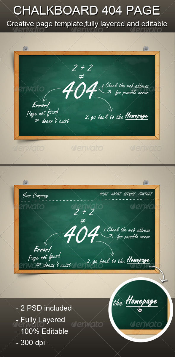 Chalkboard Error Page by AddtoFavorites (layered 404 page template)