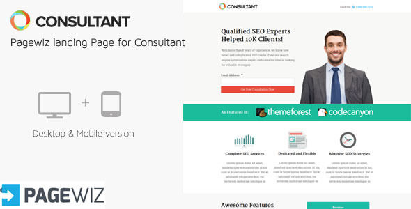Consultant Pagewiz Landing Page Template by IWebStudio (landing page template for PageWiz)