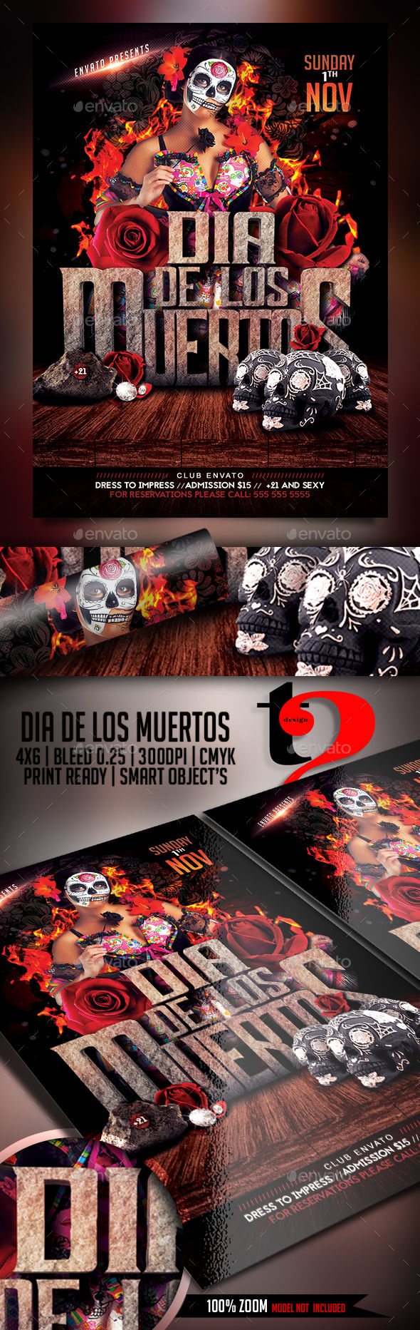 Dia De Los Muertos Flyer Template by Take2Design (Halloween party flyer)