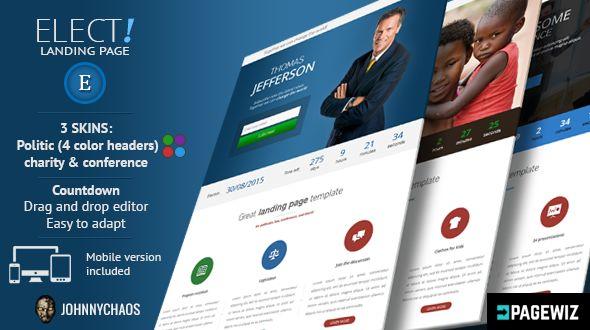 Elect by Johnnychaos (landing page template for PageWiz)