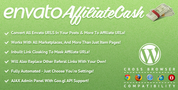 Envato Affiliate Cash For WordPress by TylerQuinn (WordPress advertising plugin)