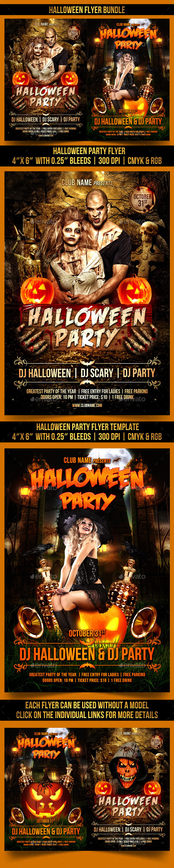Halloween Flyer Bundle by Gugulanul (Halloween party flyer)