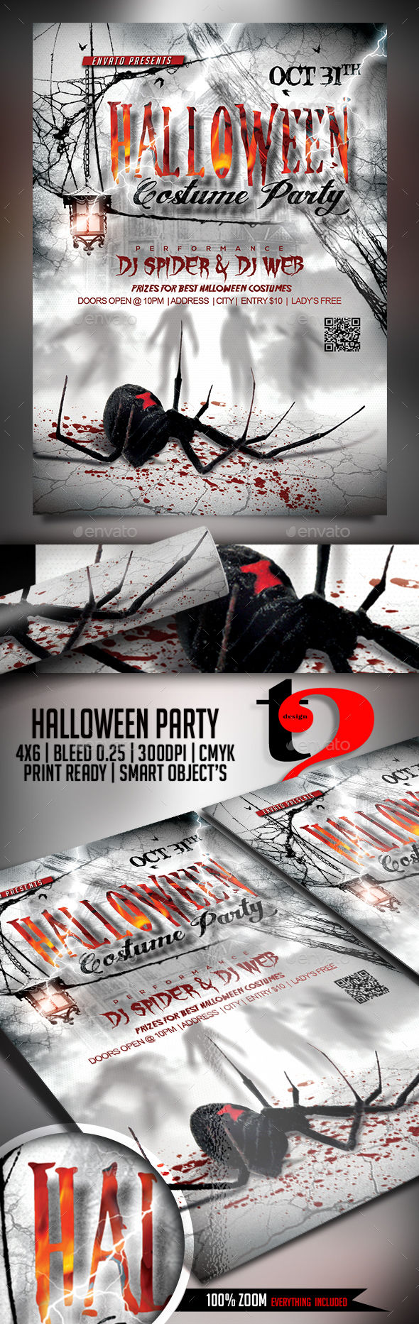 Halloween Flyer Template by Take2Design (Halloween party flyer)