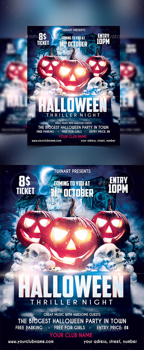 Halloween Party Flyer by Twinart (Halloween party flyer)