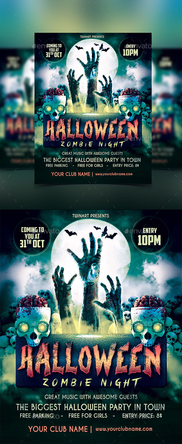 Halloween Party Zombie Flyer by Twinart (Halloween party flyer)