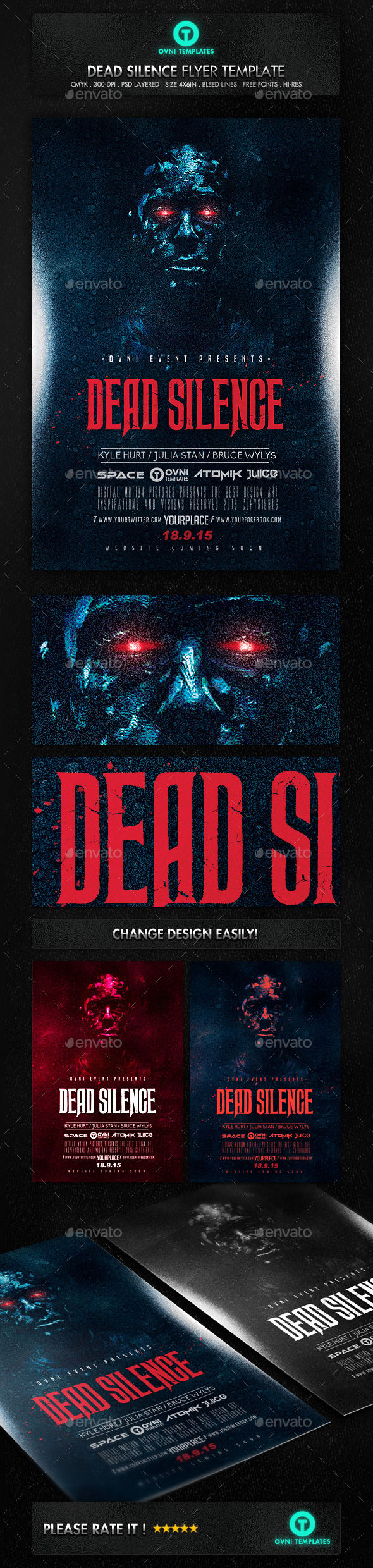Horror Dead Movie Flyer Template by OVNI-TEMPLATES (Halloween party flyer)