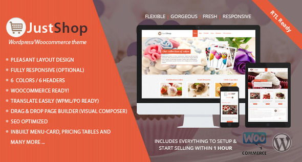 Justshop by Templatation (WordPress theme for bakeries, cafes and food retail stores)