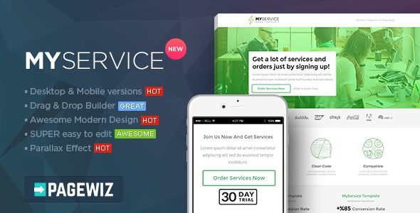 MYSERVICE by PixFort (landing page template for PageWiz)